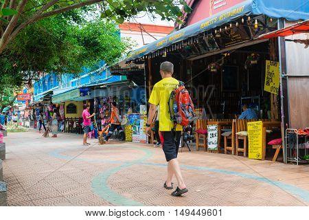 Tourist Walking Street In Krabi Ao Nang, Thailand