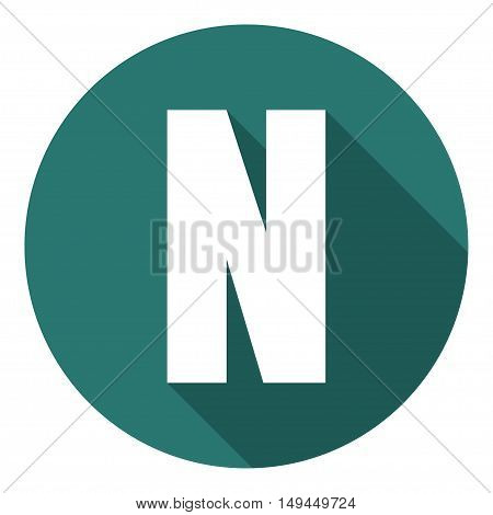 Letter N with a long shadow. Vector illustration EPS10