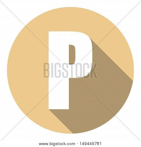 Letter P with a long shadow. Vector illustration EPS10