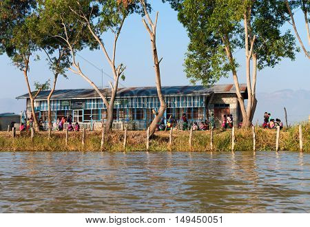 Public School Along Inle Lake In Myanmar.
