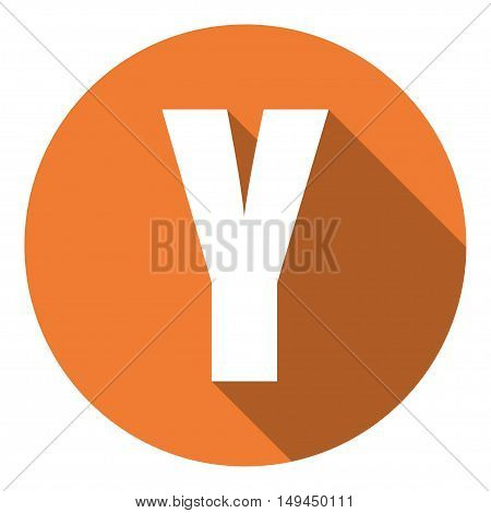 Letter Y with a long shadow. Vector illustration EPS10