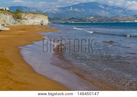 amazing pamorama of Xi Beach,beach with red sand in Kefalonia, Ionian islands, Greece