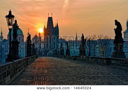Charles Bridge Prague Sunrise