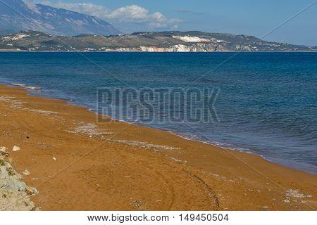 amazing pamorama of Xi Beach, beach with red sand in Kefalonia, Ionian islands, Greece