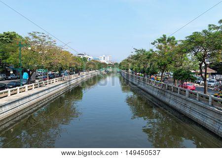 Major Canal Cutting Through The Heart Of Bangkok, Thailand.