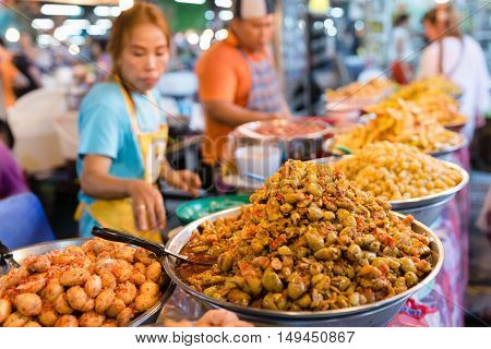 Thai Food Court On Weekend Night Market In Phuket Town.