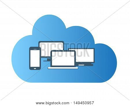 Cloud blue with computer devices flat design