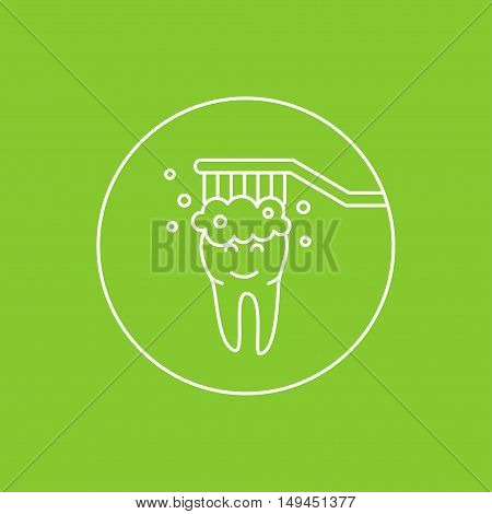 Dental tooth cleaning washing linear vector illustration. Dental tooth care technology creative concept. Healthy tooth hygiene toothbrush toothpaste. Clean tooth protection graphic design.