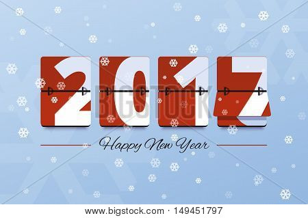 Happy New Year 2017 scoreboard vector illustration. Mechanical clock on digits board panel with snow in flat style. Design for greeting card, poster or web pages for celebrating 2017 year.