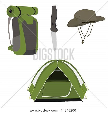 Camping equipment green camping tent travel backpack knife and exploration hat vector illustration. Camping gear icon set