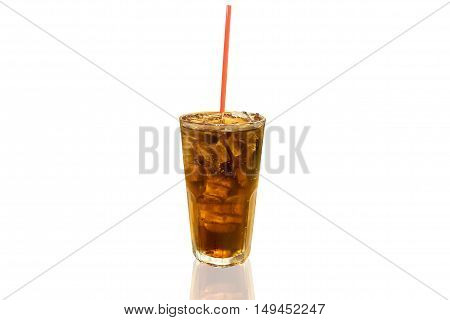 Cola with ice cubes isolated on white background.