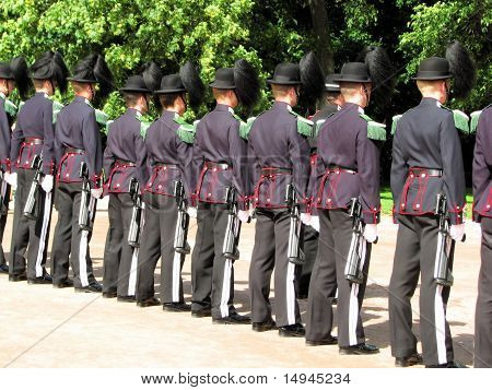 Oslo, Norway - August 21th, 2010: Royal guards of Norwegian army