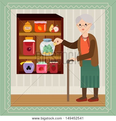 Elderly woman with a large sum of money - savings for a rainy day. Grandmother saves money in bank for jam. Grandma in vector flat cartoon illustration.