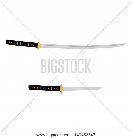 Vector illustration japanese katana and tanto sword. Samurai sword traditional weapon