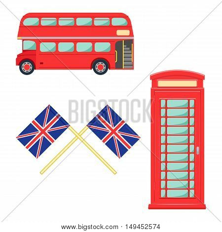 London symbol set. lindon telephone vector illustration isolated on a white background