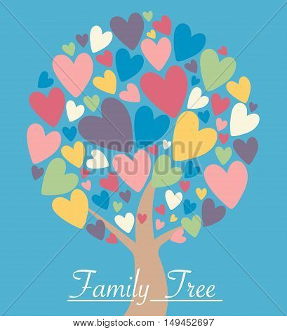 Family heart tree with colorful leaves. Love tree with colorful heart leaves. Vector illustration