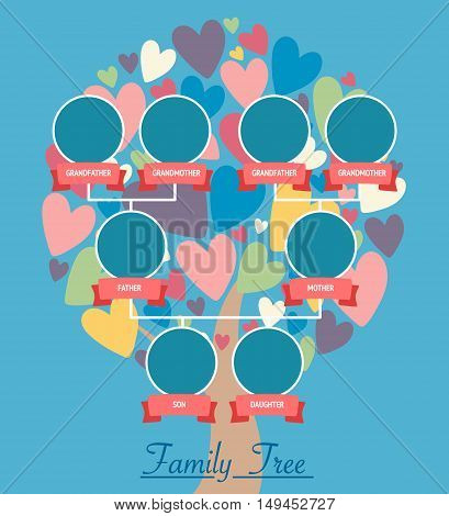 Family tree generation icons infographic avatars in flat style. Family design over tree with colorful heart leaves. Vector illustration