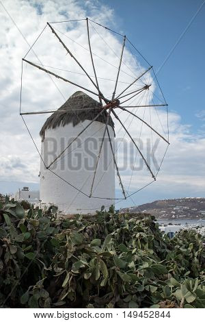 The typical local windmill structure in Mykonos (Greece)