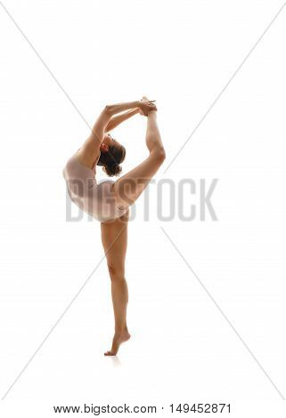 Image of gymnast doing vertical split. Isolated on white background