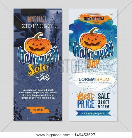 Happy Halloween Sale Banners Witch Pumpkin And Hand Lettering. Grunge Texture Background