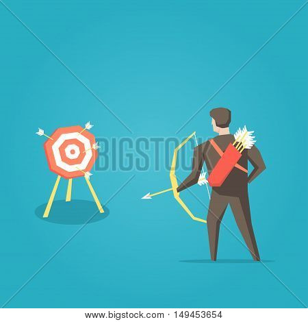 Businessman archer with bow arrows and target vector illustration. Business cartoon character creative concept.
