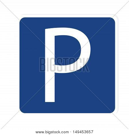 Vector illustration blue car parking zone sign. Parking space. Blue roadsign with letter P on rectangular plate