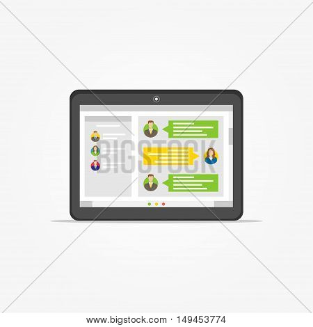 Tablet with messenger application vector illustration. Application for communication graphic design. Messenger app creative concept.