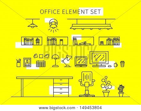 Office element set vector illustration. Isolated office tools collection. Office equipment furniture lamp computer creative concept.