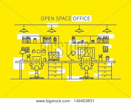 Open space office vector illustration. Professional working place creative concept. Minimal office space graphic design.