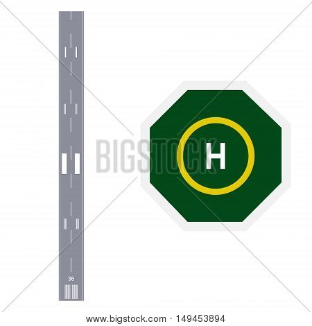 Vector illustration airplane landing or taking off runway and green helicopter landing place top view. Airport runway