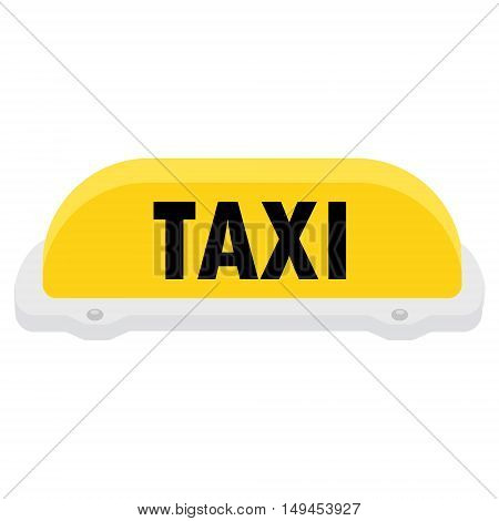 Vector illustration yellow taxi sign or symbol. Taxi service.