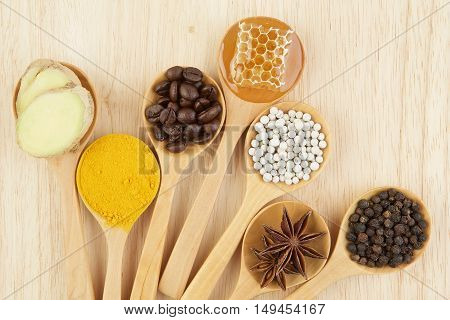 Natural Spa Ingredients.variety Herbal On Rustic Background From Top View, Coffee Beans, Pepper, Tur