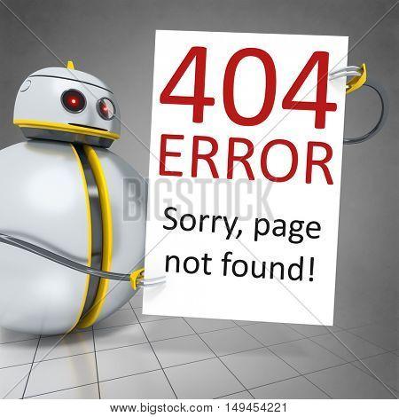 3d rendering of a sweet little robot holding error 404 board
