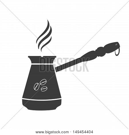 Turkish coffee icon. Turkish coffee Vector isolated on white background. Flat vector illustration in black. EPS 10