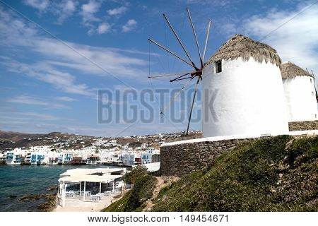 Panorama of Mykonos and the  typical windmills