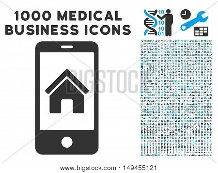 Smartphone Homepage icon with 1000 medical commerce gray and blue vector design elements. Collection style is flat bicolor symbols, white background.