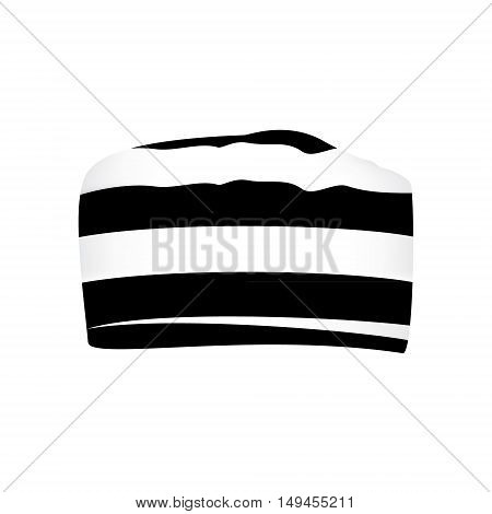 Vector illustration prisoner black and white striped hat or cap