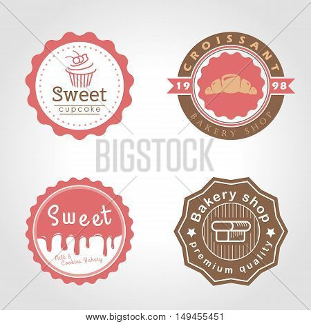 Sweet cupcake and bakery and milk shop circle logo vector illustration design