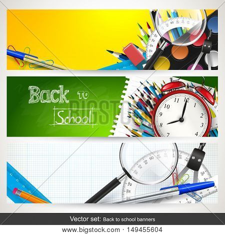 Vector set of three back to school horizontal banners