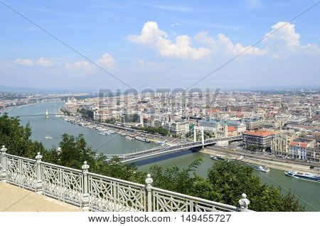 Panoramic view of Budapest from Citadella hill, Hungary