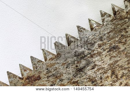 old rusty saw teeth on a white background macro