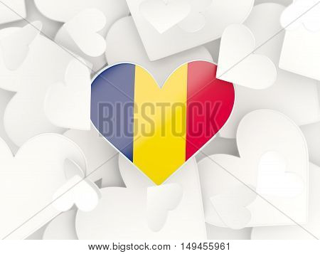 Flag Of Chad, Heart Shaped Stickers
