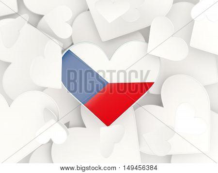Flag Of Czech Republic, Heart Shaped Stickers