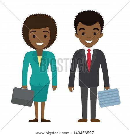 Vector illustration of afro american businessman and businesswoman characters with cases in flat style. African american female and male office workers couple.