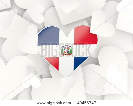 Flag Of Dominican Republic, Heart Shaped Stickers