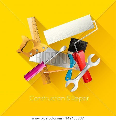 Construction and repair hand tools - flat style background