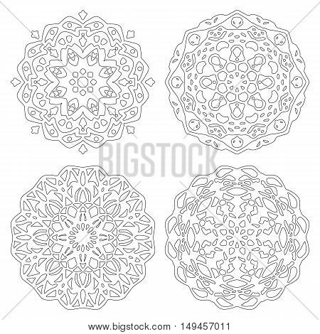Set of zentangle style mandalas. Hand drawn vector illustration. Meditative adult coloring for relaxation. Ethnic design elements