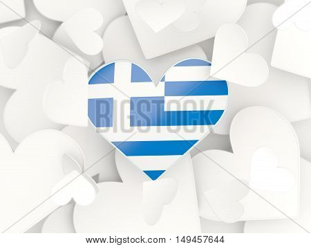 Flag Of Greece, Heart Shaped Stickers