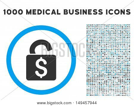 Unlock Banking Lock icon with 1000 medical commercial gray and blue vector pictograms. Design style is flat bicolor symbols, white background.