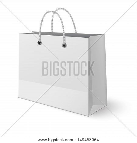 White paper classic shopping bag isolated on white background